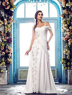 une ligne un balayage / pinceau train robe de mariée en mous... – EUR € 107.24