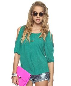 I like the cold shoulder look. Also great color Peekaboo Shoulder Top