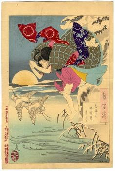"""Tsukioka Yoshitoshi: One Hundred Aspects of the Moon - # 10 Moon of Pure Snow At Asano River -- Yoshitoshi's """"100 Aspects of the Moon"""" Unable to win her father's release from prison, Chikako jumps to her death in the icy river. Two cranes that symbolize death flee the scene. Many believe this print is the best in the series."""