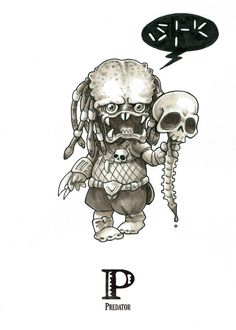 P is for Predator - Tiny Creatures Alphabet (by David G. Forés) - Original drawing for sale: www.untipoilustrado.com/shop Zombie Drawings, Demon Drawings, Dark Drawings, Cartoon Drawings, Horror Cartoon, Chibi, Movie Tattoos, Classic Horror Movies, Alphabet Art