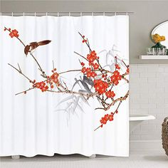 GoHeBe Natural Spring Flowers Shower Curtains Cherry Blossoms with Leaves in White Mildew Resistant Polyester Fabric Bathroom Bath Curtain Shower Curtain Hooks Included 71X71in