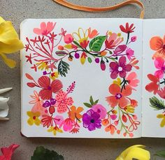 """Our artist Carolyn Gavin writes """"Painted the flower crowns! Art Journal Inspiration, Painting Inspiration, Watercolor Flowers, Watercolor Paintings, Watercolour, Floral Illustrations, Illustration Art, Watercolor Projects, Arte Floral"""
