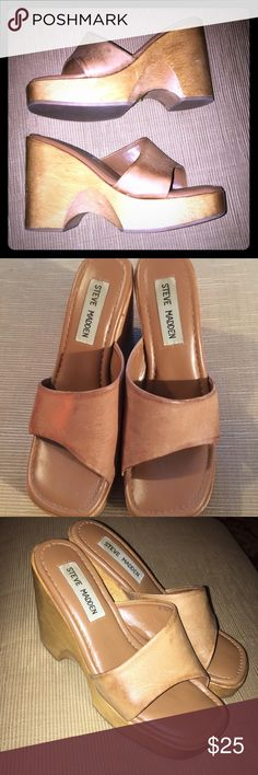 SALE ✨ EUC Steve Madden Tan/Wood Wedges (5.5) Super cute size 5 1/2 Tan Wedges by Steve Madden (style Jessie)!!  These are in very good used condition with some wear on the leather on the sides as pictured.  Otherwise, the light wood wedges and soles seem fine (few minor scuffs).  I love these shoes but the are just too high for me now!  Adorable for summer with a sundress or jeans.  ✨ Offers welcome! Steve Madden Shoes Wedges
