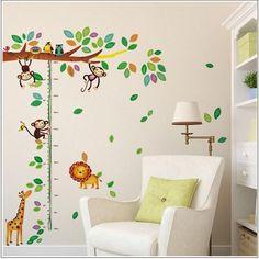 Height Wall Safari Sticker Design for Baby & Kids Room Decor