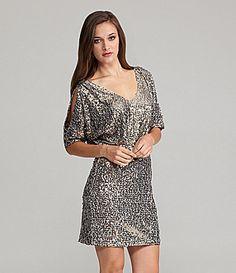 Cachet Sequin Cold-Shoulder Dress | Dillards.com