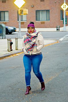 Plus Size Fashion - CurvEnvy I love the outfit but she wrong for that hat smh Plaid Fashion, Look Fashion, Winter Fashion, Womens Fashion, Fashion Black, Curvy Girl Fashion, Plus Size Fashion, Petite Fashion, Plus Sise