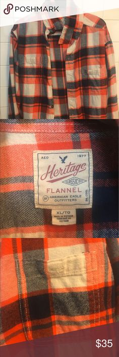 Men's flannel shirt Men's, long sleeve,flannel shirt. Never been worn so it's in great condition! XL Great for under a coat, good shirt for fall/winter American Eagle Outfitters Shirts Casual Button Down Shirts