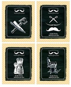 Vintage Barber Shop 4 Prints Shave Scissors Talcum Razor 8 x 10 in Home & Garden, Home Décor, Posters & Prints | eBay