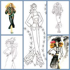 New York Fashion, Fashion Art, Adult Coloring, Coloring Books, Live Events, Custom Art, Colorful Fashion, Illustrators, Sketches