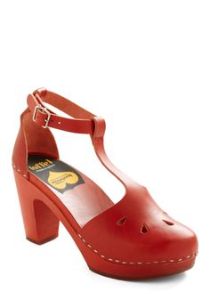 Brick-Me-Up Heel by Swedish Hasbeens - Red, Solid, Cutout, Handmade & DIY