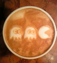 Pacman and Coffee?! Is there a better way to wake up? #coffee  #art  #latte