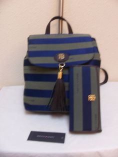 Tommy Hilfiger Backpack 6921667 467 + Wallet 6921714 467  Blue Green Brown Gold #TommyHilfiger #BackpackStyle