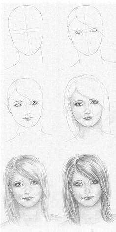 Secrets Of Drawing Realistic Pencil Portraits - Gesicht zeichnen: Schritt für Schritt Secrets Of Drawing Realistic Pencil Portraits - Discover The Secrets Of Drawing Realistic Pencil Portraits Portrait Au Crayon, Pencil Portrait Drawing, Pencil Art Drawings, Art Drawings Sketches, Drawing Faces, Drawing Portraits, Horse Drawings, Drawing Techniques, Drawing Tips