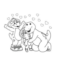 barney care with friends coloring page
