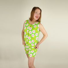 60s Flower Power Green and Hot Pink Daisy Print Top by denisebrain, $35.00