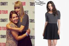 Taylor was taking pictures with fans at her meet and greet in Pittsburgh a few days ago wearing a B44 Dressed by Bailey 44 Brochette Dress ($158.00). You can get a similar dress from BlueFly ($67.19).