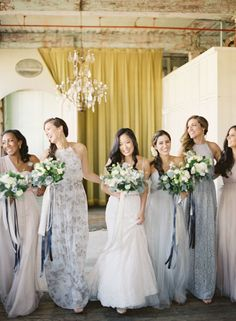 """There's nothing like saying """"I do"""" surrounded by your besties! Tag your own if you can't wait for this moment on your big day! Spring Bridesmaid Dresses, Mismatched Bridesmaid Dresses, Fall Wedding Dresses, Wedding Bridesmaid Dresses, Bridesmaid Colours, Wedding Design Inspiration, Bridesmaid Inspiration, Warehouse Wedding, Wedding Designs"""