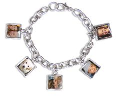 "Five Frame Charm Bracelet, Silver  Five frame photo bracelet on stylish link chain finished with large lobster claw closure. Frames are two sided so this bracelets holds a total of 10 pictures!One size, medium, 7.25"". Lobster claw can fit over chain links to make the bracelet smaller.  Upload and shrink photos online. Print at home for free! Holds photo size: 0.52"" x 0.52"". Frame size: SQ"