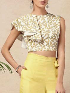 yellow spandex crop top - All About Choli Designs, Fancy Blouse Designs, Blouse Neck Designs, Cropped Tops, Crop Top Elegante, Crop Top Dress, Peplum Tops, Peplum Jacket, Peplum Blouse