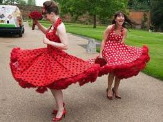 Polka dot bridesmaids dresses