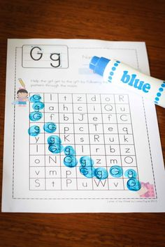 Preschool Letter of the Week G CVC letter maze