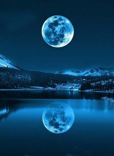 The Blue Moon of 2015 is upon us! A Blue Moon is a second Full Moon in any given month, or a fourth Full seasonal Moon. This second Full Moon of July will not only have various paranormal repercussi All Nature, Amazing Nature, Nature View, Nature Water, Beautiful Moon, Beautiful Places, Beautiful Scenery, Beautiful Voice, Hello Beautiful