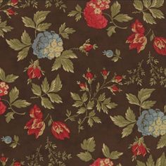Moda - 3 Sisters - Double Chocolate - 4090 11 Blue and Red Floral on a Chocolate Brown background
