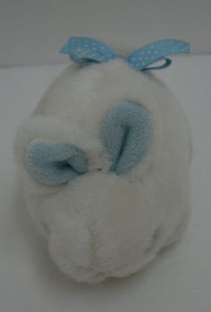 """Eden Bunny Rabbit Rattle Plush Off White Blue Polka Dot Bow Baby Toy 6"""" #Eden http://stores.ebay.com/Lost-Loves-Toy-Chest/_i.html?image2.x=26&image2.y=14&_nkw=eden"""