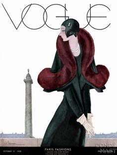 Fashion Illustration Vogue Cover - October 1929 - Fur Fashion Regular Giclee Print - A Vintage Vogue Magazine Cover Of A Woman by Georges Lepape Vogue Vintage, Capas Vintage Da Vogue, Vintage Vogue Covers, Fashion Vintage, Old Posters, Posters Vintage, Retro Poster, Art Deco Posters, Vintage Graphic