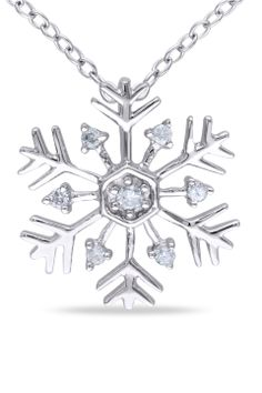 Monarch Diamond Snowflake Pendant in Sterling Silver - Beyond the Rack