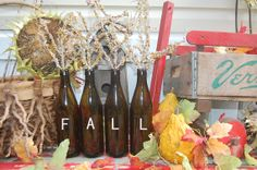 Items similar to Fall Brown Bottle Vases-Recycled Brown Glass-Set of Decor-Wedding Decoration-Shaby Chic-Farm Chic-Flower Vase on Etsy Shaby Chic, Brown Bottles, Soda Bottles, Bottle Vase, Flower Vases, Vignettes, Wedding Decorations, Recycling, Fall