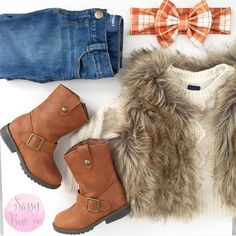 Adorable toddler fall fashion with • faux fur vest • sweater • riding boots • skinny jeans • plaid bow headband