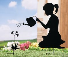 Girl Watering the Flowers Shadow Stake Set