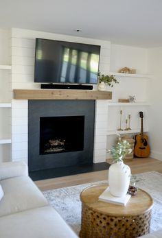 Insane Tips and Tricks: Fireplace Wall Outdoor concrete fireplace gas.Fireplace Mirror Wood Burner fireplace with tv.Fireplace Cover How To Build. Slate Fireplace Surround, Granite Fireplace, Simple Fireplace, Shiplap Fireplace, Farmhouse Fireplace, Fireplace Hearth, Home Fireplace, Marble Fireplaces, Fireplace Remodel