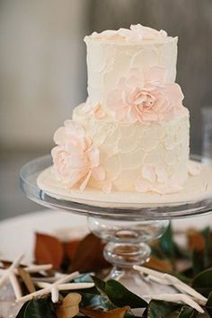 Two-tiered wedding cake with soft pink flowers