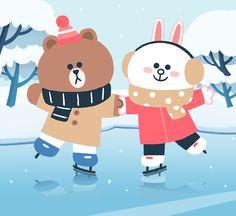 Brown et Cony ✁ Lines Wallpaper, Brown Wallpaper, Cony Brown, Brown Bear, Line Cony, Rilakkuma Wallpaper, Kakao Friends, Cute Love Gif, Brown Line