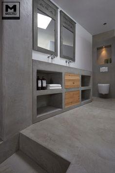 Bathroom Decorating – Home Decorating Ideas Kitchen and room Designs Beton Design, Concrete Bathroom, Bathroom Countertops, Bad Inspiration, Bathroom Inspiration, Bathroom Toilets, Bathroom Furniture, Master Bathroom, New Homes