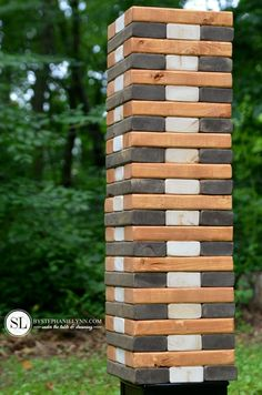 Backyard game night ice cream social diy wooden jenga tutorial party printables bystephanielynn here is a fun night activity for the next time you and the family or friends go camping diy outdoorliving camping Backyard Games, Outdoor Games, Lawn Games, Outdoor Play, Outdoor Living, Outdoor Decor, Permaculture, Diy Playing Cards, Jenga Game