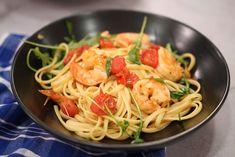 Linguine with Shrimp and Arugula | Orsara Recipes Yummy Pasta Recipes, Fish Recipes, Seafood Recipes, Dinner Recipes, Italian Chef, Italian Recipes, Aglio E Olio Recipe, Shrimp Linguine, Arugula Recipes