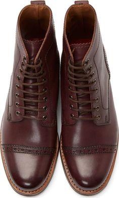 Grenson Burgundy Leather Jackson Boots
