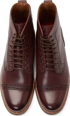 Grenson Burgundy Leather Jackson Boots