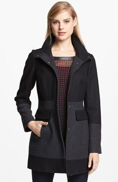 GUESS Two Tone Wool Blend Coat (Online Only) available at #Nordstrom