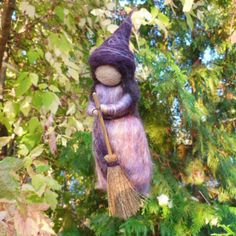 Flying Kitchen Witch Needle Felted