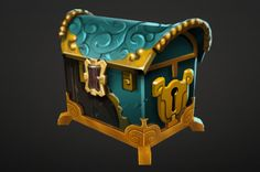 chest Game Ui Design, Prop Design, Really Cool Drawings, Pen & Paper, Prop Box, Hand Painted Textures, Game Props, Mobile Art, Treasure Boxes