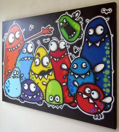 Famille de monstre peinture sur toile art de par art4barewalls