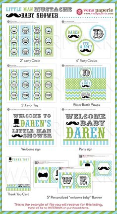 Little Man Mustache Baby Shower Package by venspaperie on Etsy, $29.00