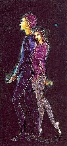 """""""Dancers"""" by Susan Seddon Boulet whose work evolved over time from bright yet simple content to a more complex layering of the images of animals, Shamans and Goddesses. Working primarily in French oil pastels, inks & occasionally pencil, she developed a distinctive style characterized by the use of color applied in layers from which dream-like forms emerged. There is a fairy tale quality to her work, a sentimental recalling of childhood dreams of fairies & castles & magic."""