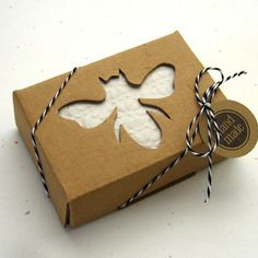 10 Kraft Boxes Soap Box with Honey Bee Window 2 5/8 x 3 3/4 x 1 1/8 inches