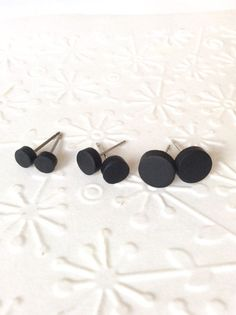 Black studs earrings matte black earring earrings by skietromart