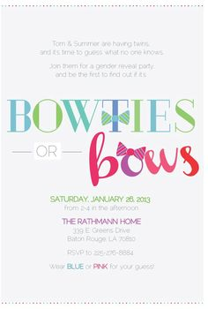 Bowties or Bows?? Love this idea...hope I get to throw a baby shower like this one day. ;)